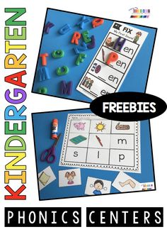Complete units to teach all the kindergarten phonics standards - print free resources including phonics worksheets - phonics centers - phonics printables - phonics activities - CVC words and word families - segmenting and blending - phonemic awareness - phonological awareness - digraphs and long vowels - alphabet activities FREEBIES #kindergartenphonics  #kindergarten #firstgradephonics