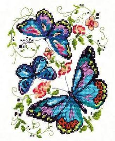 Hardanger Embroidery Patterns Blue Butterflies Cross Stitch Kit - Finished size Comes with a white Zweigart Aida, 16 shades of cotton threads, needle and instructions in eng Counted Cross Stitch Kits, Cross Stitch Charts, Cross Stitch Designs, Cross Stitch Patterns, Butterfly Cross Stitch, Cross Stitch Flowers, Blue Butterfly, Hardanger Embroidery, Cross Stitch Embroidery