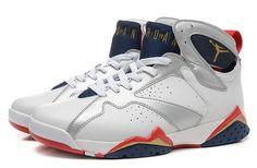 Nike Air Jordan 7 Retro White Silver Red Men Shoes