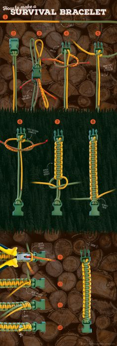 Paracord Project: An infographic tutorial on how to make a survival bracelet. - NickIngram - Paracord Project: An infographic tutorial on how to make a survival bracelet. Paracord Project: An infographic tutorial on how to make a survival bracelet. Survival Tips, Survival Skills, Survival Books, Survival Quotes, Homestead Survival, Wilderness Survival, Camping Survival, Diy And Crafts, Arts And Crafts