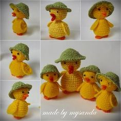 Inspiration NO pattern Easter Toys, Easter Crafts, Crochet Chicken, Easter Crochet Patterns, Crochet Rabbit, Holiday Crochet, Crochet Animals, Crochet Dolls, Crochet Projects
