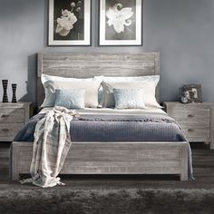 Features:  -Material: 100% Solid pine wood from renewable forests.  -Eco-friendly.  Distressed: -Yes.  Pieces Included: -1 Headboard,1 Footboard, 2 side rails, 4 slats with adjustable center supports