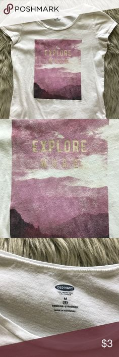 Old Navy t-shirt Old Navy girls t-shirt. Comes in size M(8)z it does have a very small hole on the low back (see pictures) Old Navy Shirts & Tops