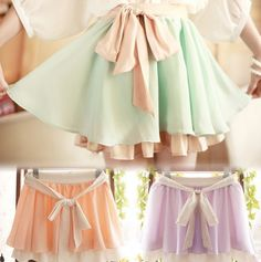 Cute sweet chiffon candy color skirts
