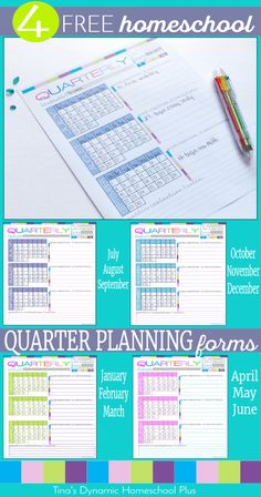 4 Free Homeschool Quarter Planning Forms for homeschool planning and begin building your UNIQUE 7 Step Free Homeschool Planner @ Tina's Dynamic Homeschool Plus High School Teen, Middle School, School Planner, Teacher Planner, Home Schooling, School Organization, Planner Pages, Homeschool Curriculum, Planer
