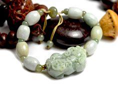 Feng shui Pi chinois Shou Fortune Tiger Carved Jade Bracelet 7 -10 pouces