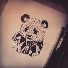 Afbeeldingsresultaat voor geometric panda drawing