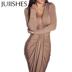 khaki / SDeep V Neck Bodycon Sexy Womens Party Club Dresses Long Sleeve Autumn Winter Draped Elegant Women Dress Maxi Long Dress Vestidos Plus Size Maxi Dresses, Club Dresses, Cheap Dresses, Summer Dresses, Ladies Dresses, Women's Dresses, Dress Up, Bodycon Dress, Sheath Dress