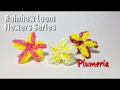 Rainbow Loom Flowers Series: PLUMERIA. Designed and loomed by PG's Loomacy. Click photo for YouTube tutorial. 04/22/14.