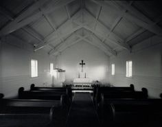 Interior: Church of the Transformation, Tautoro, North Island, 20 April 1982 - Auckland Art Gallery Auckland Art Gallery, New Zealand Art, Documentary Photography, Interior Architecture, Contemporary Art, Sweet Home, Interiors, Island, Crosses