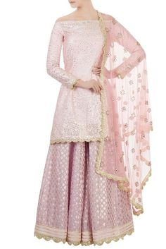 Shop Daddy's Princess Off Shoulder Kurta Sharara Set , Exclusive Indian Designer Latest Collections Available at Aza Fashions Pakistani Formal Dresses, Pakistani Outfits, Indian Outfits, Indian Dresses, Gharara Designs, Lehenga Designs, Designer Punjabi Suits, Indian Designer Wear, Indian Attire
