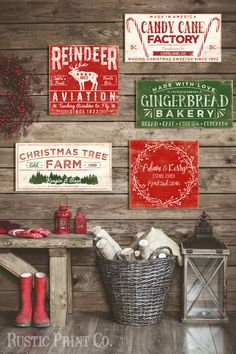 Vintage Gingerbread Bakery Sign Christmas by RusticPrintCo