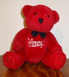 "Wendy's Red Teddy Bear Stuffed Plush 8"" Steven Smith  Restaurant Advertisement   #StevenSmithWendys #AllOccasion"