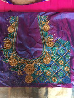 Hand Work Design, Hand Work Blouse Design, Kids Blouse Designs, Simple Blouse Designs, Salwar Neck Designs, Wedding Saree Blouse Designs, Maggam Work Designs, Jewelry Design Drawing, Embroidery Neck Designs