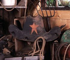 Western Art, Western Decor - Vintage Wooden Cowboy Hat Rack