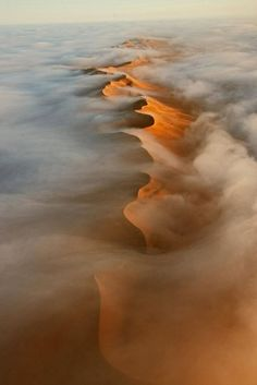 An aerial view of Namib Desert dunes
