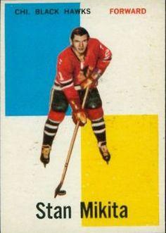 Stan Mikita (Chicago Blackhawks) 1960-61 Topps 14 NHL rookie hockey card... Rangers Hockey, Blackhawks Hockey, Chicago Blackhawks, Hockey Girls, Hockey Mom, Ice Hockey, Flyers Hockey, Hockey Players, Philadelphia Flyers