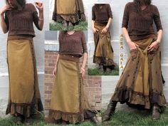 AuraGaia ~Aranyani Poorgirls BoHo Bustleback Ruffled Long Upcycled Skirt S-2X