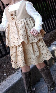 This goes toward my inspiration for dresses to wear with cowboy boots.  So many sweet little girls to sew for. I can also upcycle vintage valances, oh yes, I can see it. Source: At Second Street: School Attire-Part Six