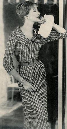 Vogue Knitting 1960 Deep Collar Dress via Etsy.