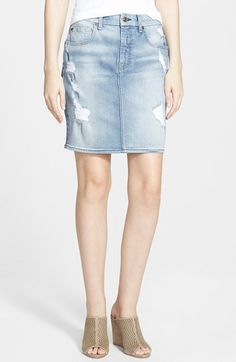 7+For+All+Mankind®+Destroyed+Mid+Rise+Denim+Pencil+Skirt+(Light+Sky+Blue)+available+at+#Nordstrom