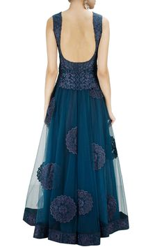 Navy blue tone-on-tone embroidered anarkali with matching embroidered dupatta available only at Pernia's Pop-Up Shop.