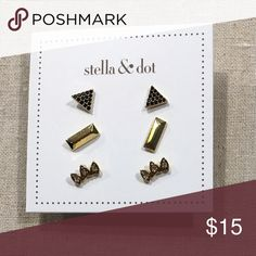 """Stella and Dot Aurora Stud Pack - Gold EUC. 1/4"""", 1/2"""" Featherweight.  Comes with original packaging. Stella & Dot Jewelry Earrings"""