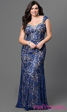 Plus Size Long Lace Dress at PromGirl.com