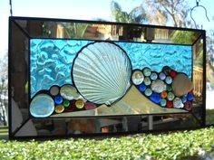 Stained Glass Panel Mixed Media Seashell Suncatcher by ArtfulFolk, $89.95
