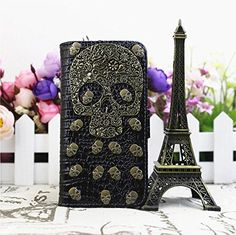Punk Skull Studs Wallet Crocodile Pu Leather Cover Case for Apple Iphone 5/ 5s (Black)