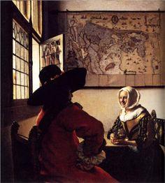 between - Vermeer - Johannes Vermeer - The soldier and the laughing girl - (De Soldaat en het lachende meisje) - Oil on canvas x 46 cm. - Frick Collection, New York Johannes Vermeer, Caravaggio, Vermeer Paintings, Oil On Canvas, Canvas Art, Dutch Golden Age, Dutch Painters, Dutch Artists, Art History