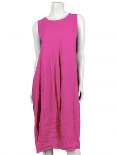 Damen Leinenkleid, pink von Spaziodonna bei www.meinkleidchen.de