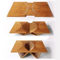 Furniture and architecture by Robert van Embricqs     テーブルや椅子に変身する「魔法の一枚板」がすごい!
