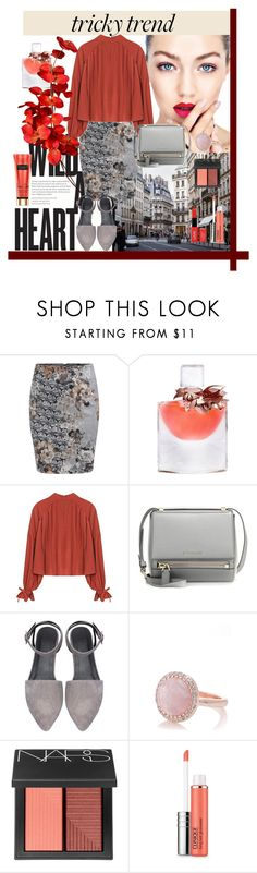 """high-neck blouse"" by fabiana-fellini ❤ liked on Polyvore featuring WithChic, Lancôme, Givenchy, Oasis, NARS Cosmetics, Clinique, NYX, women's clothing, women's fashion and women"
