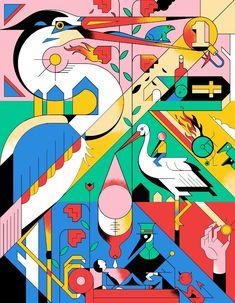 ' The Dutch Welfare State ' illustration. Lots to discover here. Game Design, Design Art, Graphic Design Illustration, Digital Illustration, Misaki Kawai, Graffiti, Illustrator, Horst, Bullen