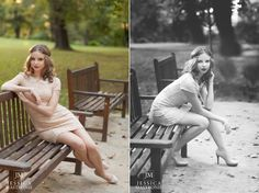 vintage senior pictures on a park bench with gorgeous headband!