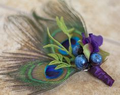 MADE TO ORDER - Peacock Feather Wedding Men's Boutonniere
