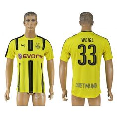 BVB Borussia Dortmund 16-17 #Weigl 33 Hjemmebanetrøje Kort ærmer,208,58KR,shirtshopservice@gmail.com