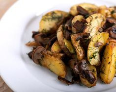 This dish is the perfect accompaniment for a thick, juicy steak or pork chop. The earthiness of mushrooms and the semi-sweetness of potatoes go so well together.