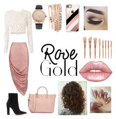"""""""Rose gold"""" by lovelynini ❤ liked on Polyvore featuring Boohoo, A.L.C., Gianvito Rossi, Jessica Carlyle, Casetify and Lime Crime"""