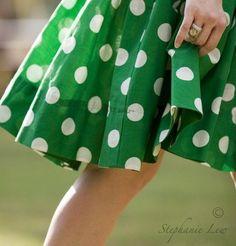 Green Skirt with Big White Polka Dots ....