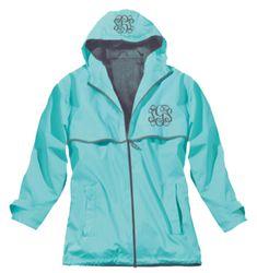 Preppy Monogrammed Aqua Rain Jacket | underthecarolinamoon.com - she loves it exaxtly as shown!