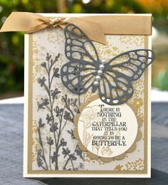 Krystal's Cards: Stampin' Up! Butterfly Bundle Vanilla and Gold #stampinup #krystals_cards #butterflybasics #butterflybundle #papercrafts #cardmaking #handstamped #stampsomething #sharethefun #sendacard