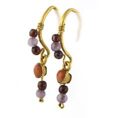 A Pair of Roman Gold, Garnet, Coral and Amethyst Earrings, ca. 1st century AD