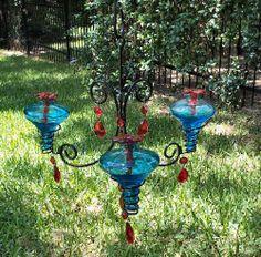 Parasol fw3sf hand blown glass hummingbird feeder ferris wheel aqua hand blown glass hummingbird feeder 3 port chandelier mozeypictures Choice Image
