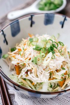 Asian Chicken Salad with Sesame Dressing has a beautiful sesame dressing and crispy noodle bits. A total delight to the senses!