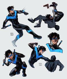 Nightwing And Batgirl, Young Justice League, Richard Grayson, Character Art, Character Design, Bat Boys, Robin, Superhero Design, Batman Family