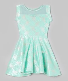 Look at this Mint Lace Sheer Yoke Skater Dress on #zulily today!