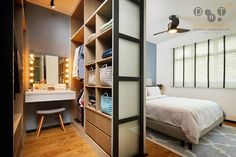 8 Ways to Squeeze a Walk-in Wardrobe in Your HDB Bedroom (No Wall Hacking Required) – home accessories Bedroom Closet Design, Bedroom Storage, Home Decor Bedroom, Bedroom Ideas, Wall Storage, Master Bedroom, Bedroom Organization, Wood Bedroom, Organization Ideas