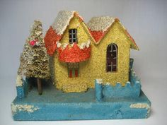 ANTIQUE CARDBOARD HOUSE WITH BALCONY & GLITTER CHRISTMAS UNDER TREE ORNAMENT in Collectibles, Holiday & Seasonal, Christmas: Vintage (Pre-1946) | eBay